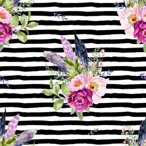 """18"""" Lilac Boho Florals with Feathers - Black & White Stripes"""