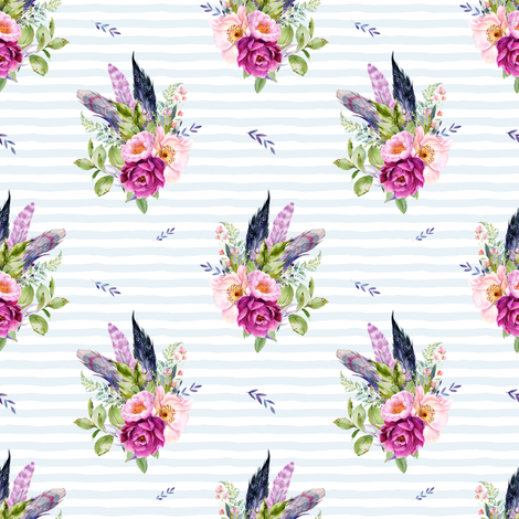 """4"""" Lilac Boho Florals with Feathers - Blue Stripes fabric by shopcabin on Spoonflower - custom fabric"""