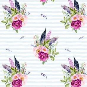 """4"""" Lilac Boho Florals with Feathers - Blue Stripes"""