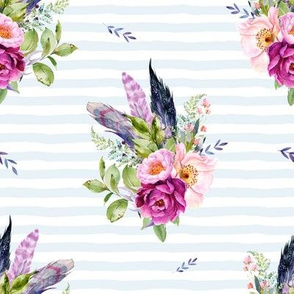 """8"""" Lilac Boho Florals with Feathers - Blue Stripes"""
