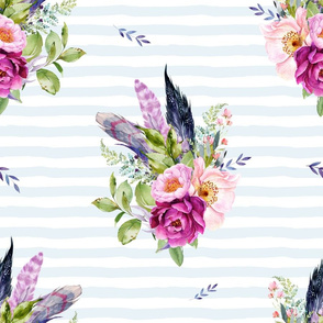 """18"""" Lilac Boho Florals with Feathers - Blue Stripes"""