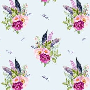 """4"""" Lilac Boho Florals with Feathers - Blue"""
