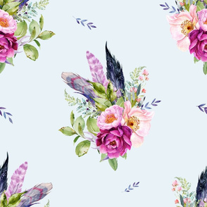 """18"""" Lilac Boho Florals with Feathers - Blue"""