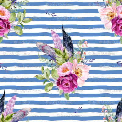 """4"""" Lilac Boho Florals with Feathers - Dark Blue Stripes"""