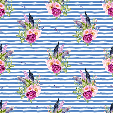 """4"""" Lilac Boho Florals with Feathers - Dark Blue Stripes fabric by shopcabin on Spoonflower - custom fabric"""
