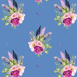 """4"""" Lilac Boho Florals with Feathers - Dark Blue"""