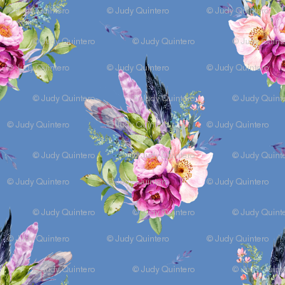 """8"""" Lilac Boho Florals with Feathers - Dark Blue"""