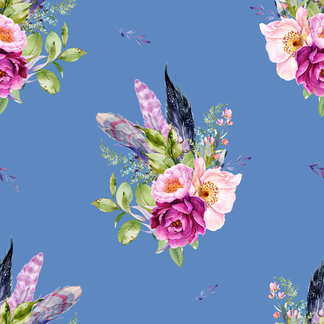 """8"""" Lilac Boho Florals with Feathers - Dark Blue fabric by shopcabin on Spoonflower - custom fabric"""