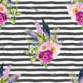 """18"""" Lilac Boho Florals with Feathers - Dark Grey Stripes"""