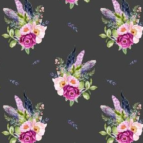 """4"""" Lilac Boho Florals with Feathers - Dark Grey"""