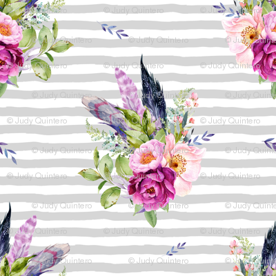 "4"" Lilac Boho Florals with Feathers - Grey Stripes"