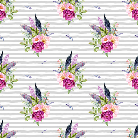 "4"" Lilac Boho Florals with Feathers - Grey Stripes fabric by shopcabin on Spoonflower - custom fabric"