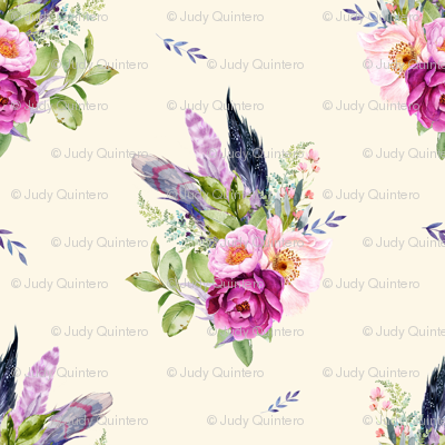 """8"""" Lilac Boho Florals with Feathers - Ivory"""