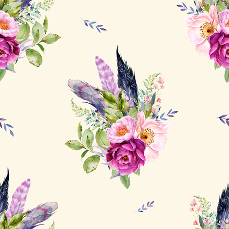 """8"""" Lilac Boho Florals with Feathers - Ivory fabric by shopcabin on Spoonflower - custom fabric"""