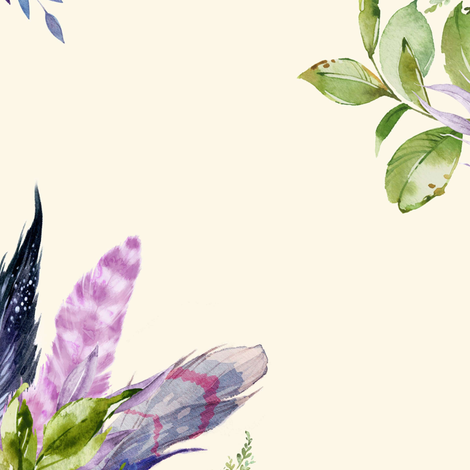 """18"""" Lilac Boho Florals with Feathers - Ivory fabric by shopcabin on Spoonflower - custom fabric"""