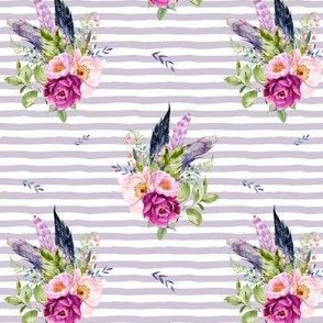 "4"" Lilac Boho Florals with Feathers - Lilac Stripes"