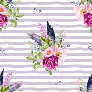 "8"" Lilac Boho Florals with Feathers - Lilac Stripes"