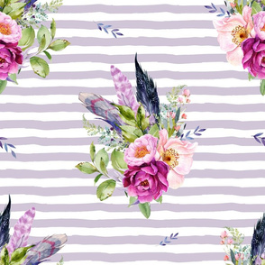 """18"""" Lilac Boho Florals with Feathers - Lilac Stripes"""