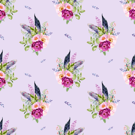 "4"" Lilac Boho Florals with Feathers - Lilac fabric by shopcabin on Spoonflower - custom fabric"
