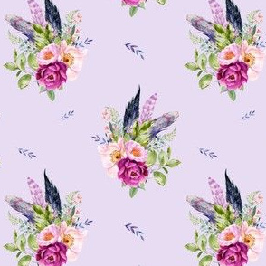 "4"" Lilac Boho Florals with Feathers - Lilac"