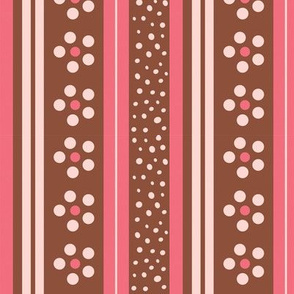 Daisy  Floral Stripes in pink and brown