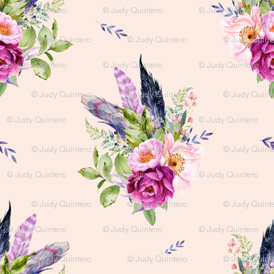 "8"" Lilac Boho Florals with Feathers - Peach"