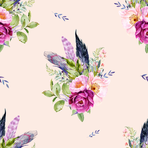 "8"" Lilac Boho Florals with Feathers - Peach fabric by shopcabin on Spoonflower - custom fabric"
