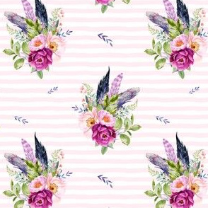 "4"" Lilac Boho Florals with Feathers - Pink Stripes"