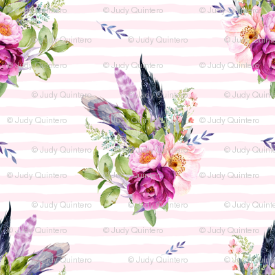 """18"""" Lilac Boho Florals with Feathers - Pink Stripes"""