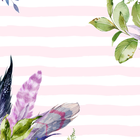 """18"""" Lilac Boho Florals with Feathers - Pink Stripes fabric by shopcabin on Spoonflower - custom fabric"""