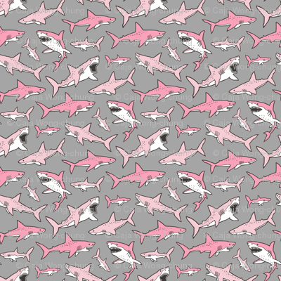Sharks Shark Pink on Grey Smaller 1,5 inch