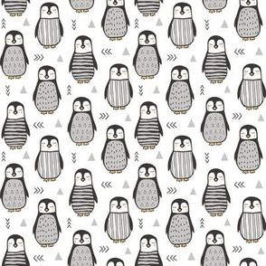 Penguins Black&White  with Sweater Geometric and Triangles  in Grey on White Smaller 1,5 inch