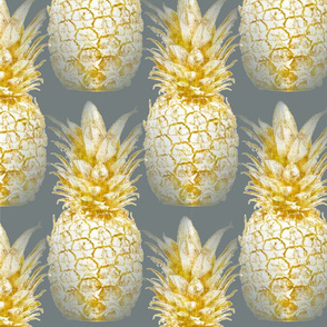 Golden Pineapples on Grey