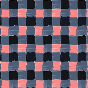 Indigo Peach Gingham