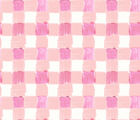Peachy Pink Gingham fabric by crystal_walen on Spoonflower - custom fabric