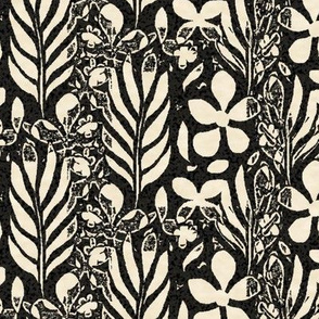 Flowery Monstera, Black and Ivory, Large