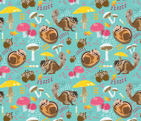 Chipmunk fabric by cathleenbronsky on Spoonflower - custom fabric