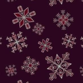 Gemstone Snowflakes on dark purple  (small)