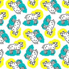 1950's Style Sheep in Yellow and Turquoise