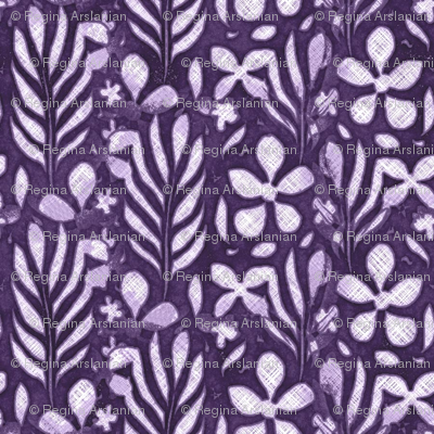 Linen Monstera Flower, Purple, Medium