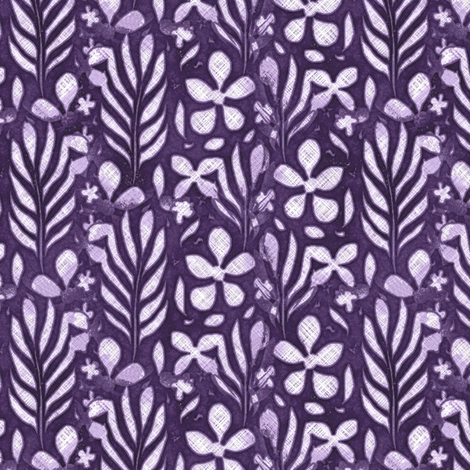 Linen Monstera Flower, Purple, Medium fabric by palifino on Spoonflower - custom fabric