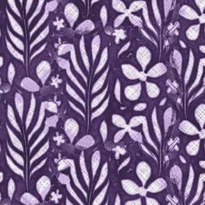 Linen Monstera Flower, Purple, Large