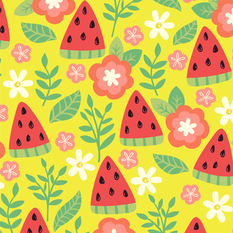 Watermelons-Yellow fabric by taylorshannon on Spoonflower - custom fabric