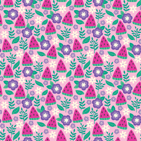 Watermelons-Pink-small fabric by taylorshannon on Spoonflower - custom fabric