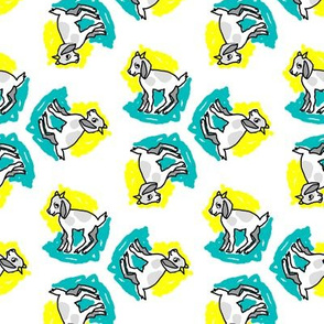 1950's Style Baby Goat in Yellow and Turquoise