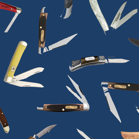 Pocket Knives on Navy // Large fabric by thinlinetextiles on Spoonflower - custom fabric
