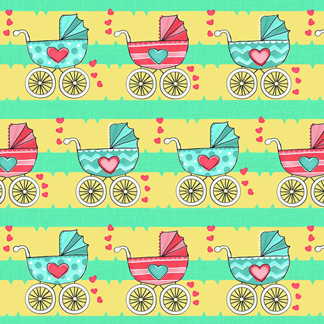 A Stroller Down Memory Lane fabric by franbail on Spoonflower - custom fabric