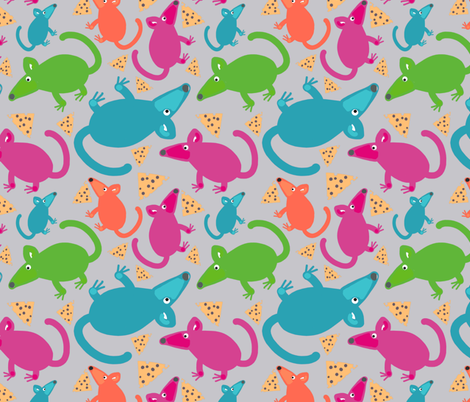 Mice with Cheese - light gray fabric by stephaniecolecreations on Spoonflower - custom fabric