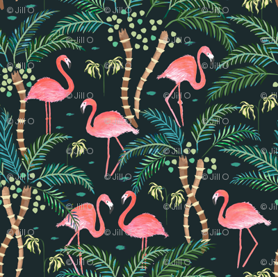 Watercolour flamingoes Dark