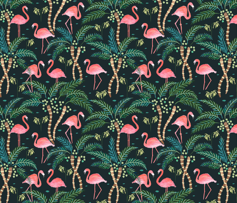 Watercolour flamingoes Dark fabric by jill_o_connor on Spoonflower - custom fabric